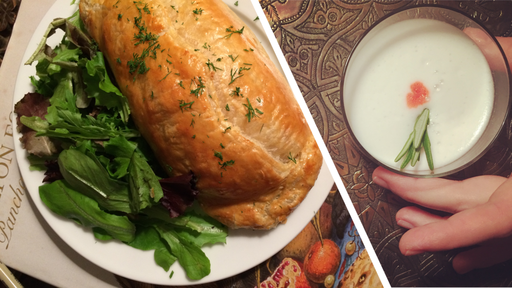 Left: Kulebyaka, which is a Russian salmon pie with rice and mushrooms. Right: a riff on a White Lady cocktail (lemon juice, gin, egg white) with rosemary and Peychaud's bitters.