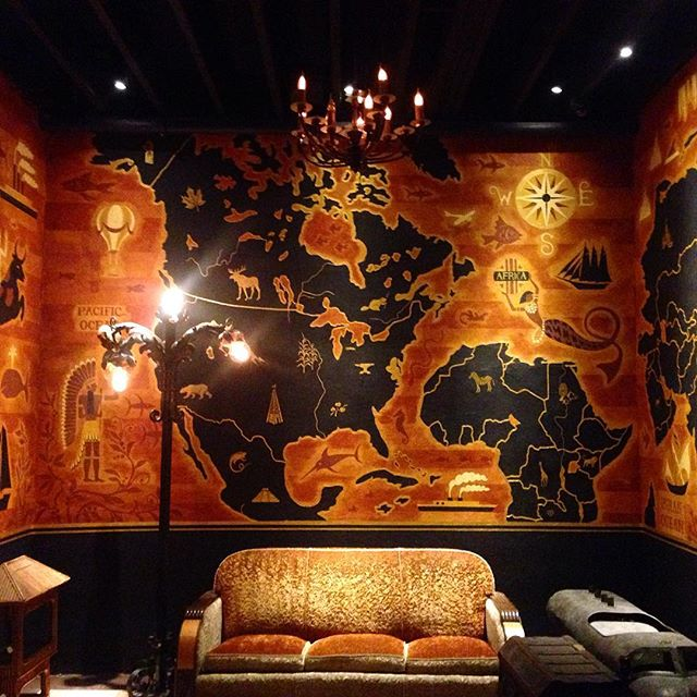 We got a sneak peek at the upcoming Pacific Seas tiki bar at @cliftonsla from Bamboo Ben, tiki designer extraordinaire. This mural by Sammy Beam is just one of the many impeccable details in the space, along with rum lockers, canoe benches and artifacts from both the original Pacific Seas and Rosemead's old Bahooka bar. The opening is scheduled for the end of July...we can't wait! #lagram #tiki (📷 by @erinito)