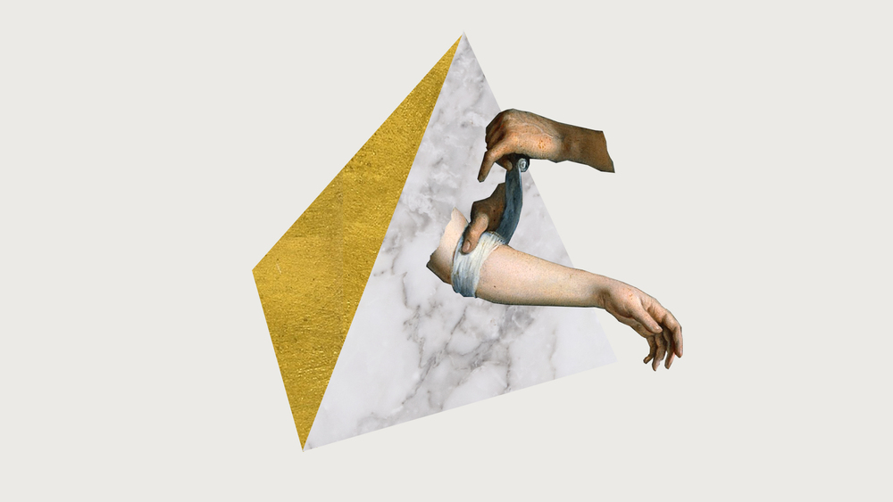 HELPING HAND - printed collage, acrylic, gold leaf - dimensions variable