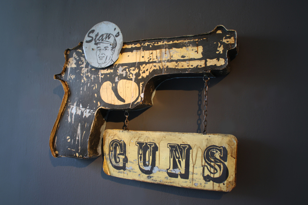 STANS' GUNS SCULPTURE  - acrylic on metal, wood, chain