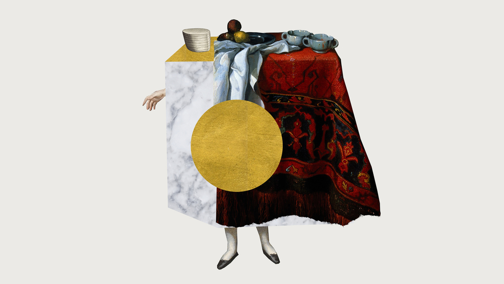 SHE MADE THE TABLE WITH MARBLE AND GOLD - printed collage, acrylic, gold leaf