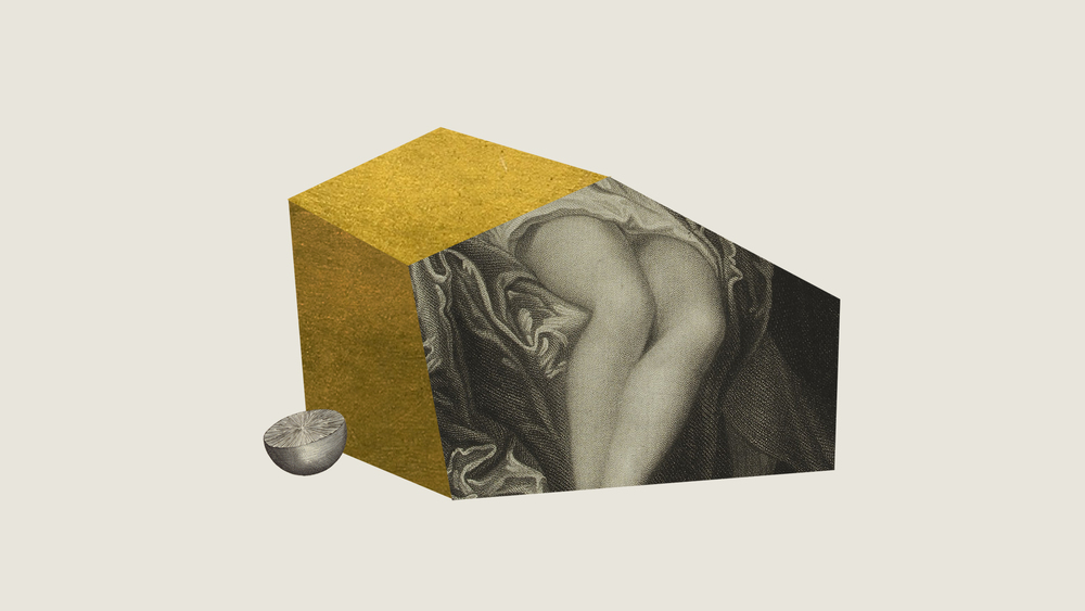 CONSTRAINED SHAPE #2 - printed collage, acrylic, gold leaf