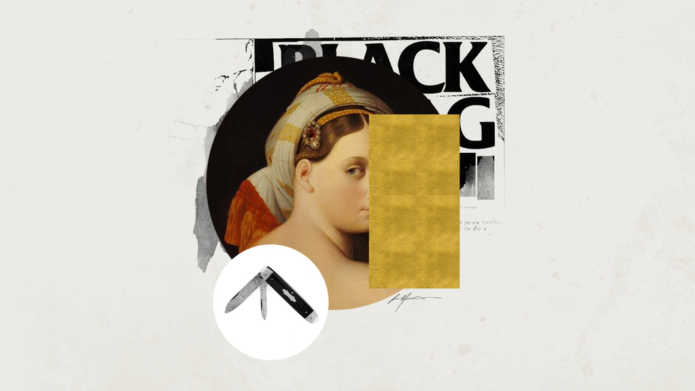 I MET HER AT THE BLACK FLAG SHOW - printed collage, acrylic, gold leaf - 40x20