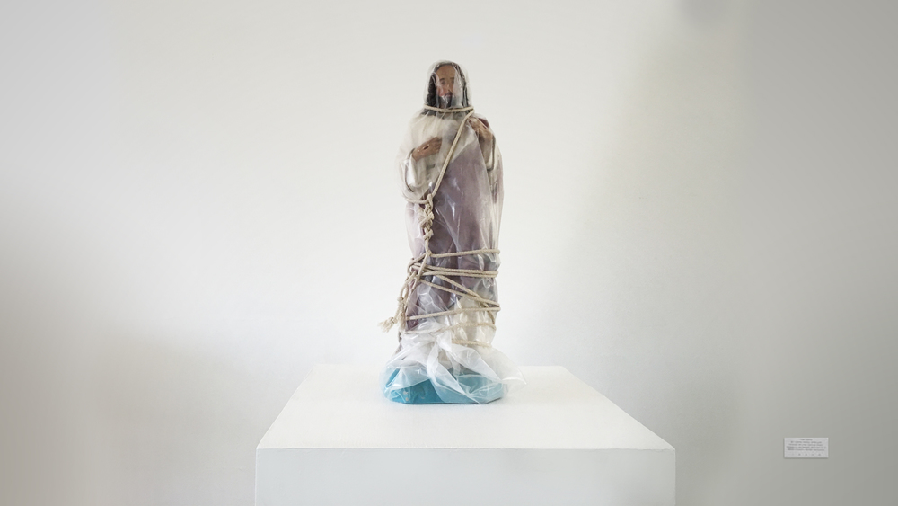 WRAPPED JESUS INSTALLATION - concert, acrylic, visqueen, rope
