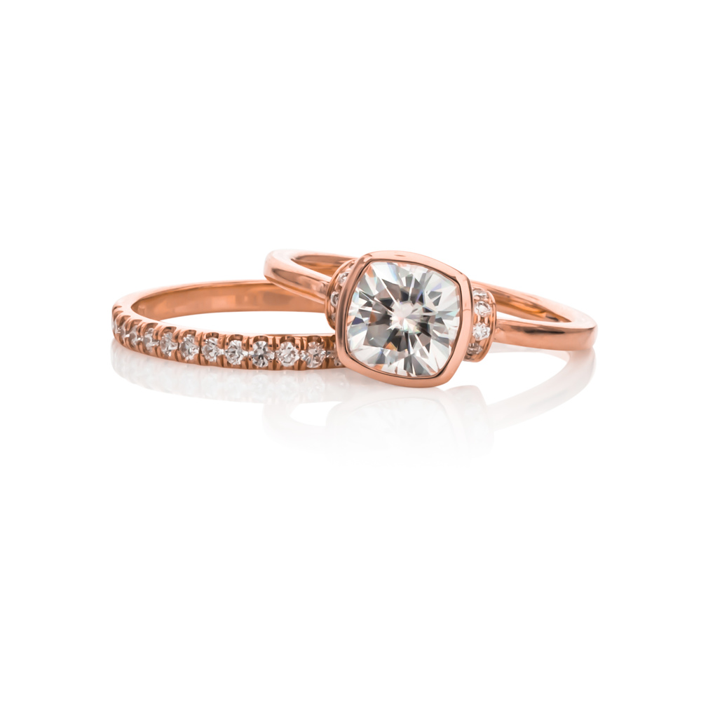 CUSTOM ROSE GOLD DIAMOND  BRIDAL SET