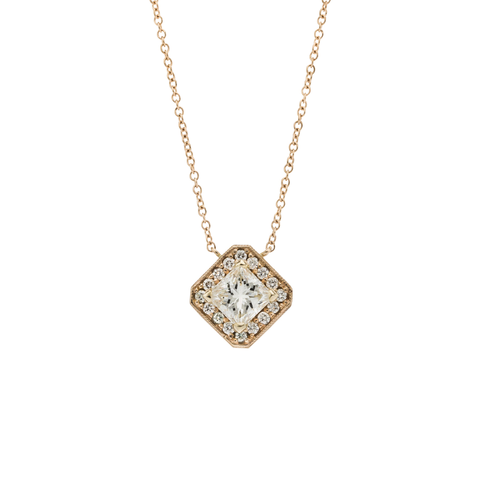 CUSTOM ROSE GOLD DIAMOND HALO PENDANT