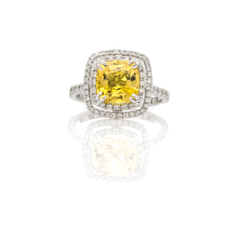 CUSTOM YELLOW SAPPHIRE AND DIAMOND DOUBLE HALO ENGAGMEMENT RING