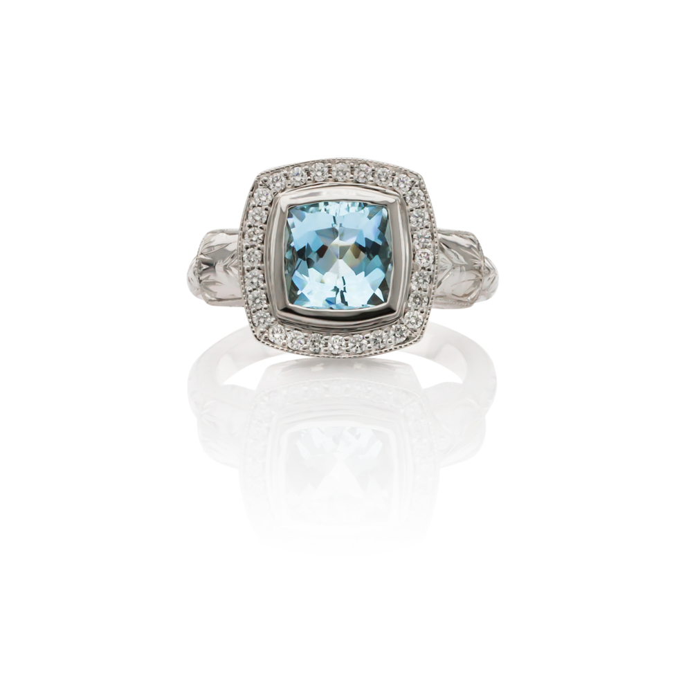 CUSTOM AQUAMARINE AND DIAMOND RING