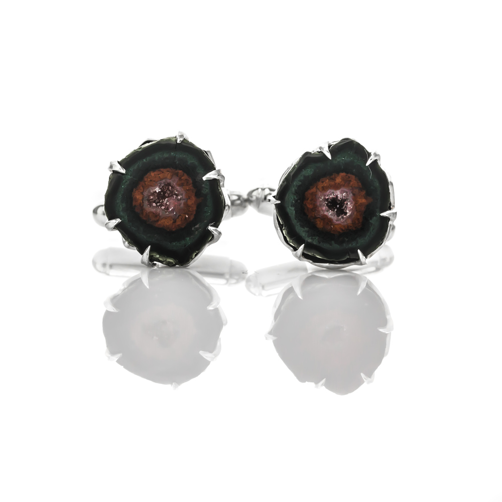 CUSTOM GEODE CUFFLINKS handmade to showcase the organic nature of the stones.