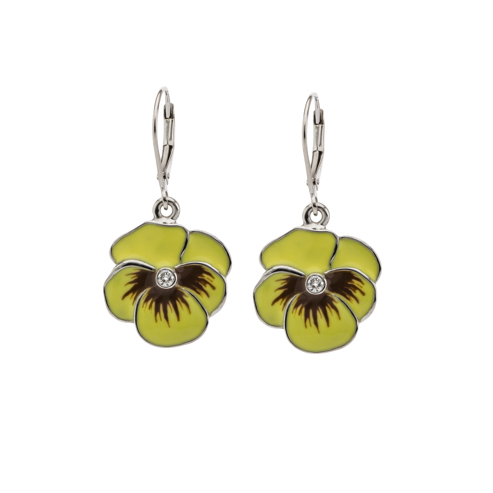 CUSTOM ENAMEL AND DIAMOND WHITE  GOLD PANSY EARRINGS designed to replace a pair of our client's favorite fashion earrings.