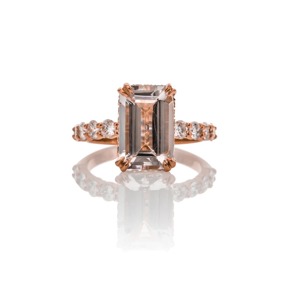 CUSTOM MORGANITE, DIAMOND AND ROSE GOLD ENGAGEMENT RING