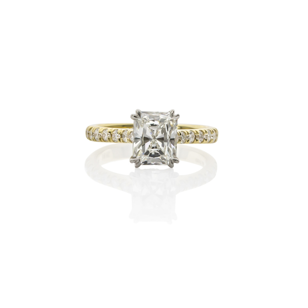 CUSTOM 18K YELLOW GOLD AND PLATINUM DIAMOND ENGAGEMENT RING