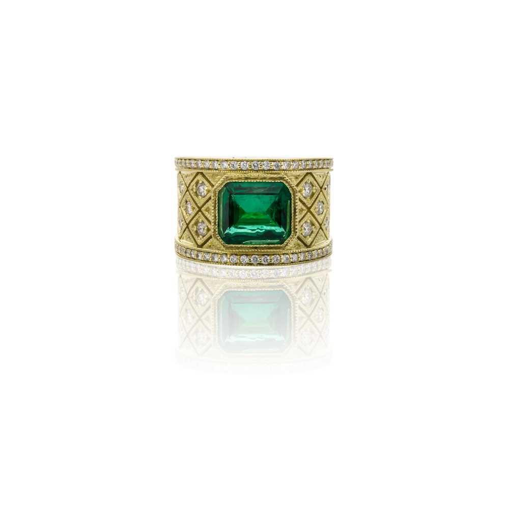 CUSTOM 18K YELLOW GOLD EMERALD AND DIAMOND RING