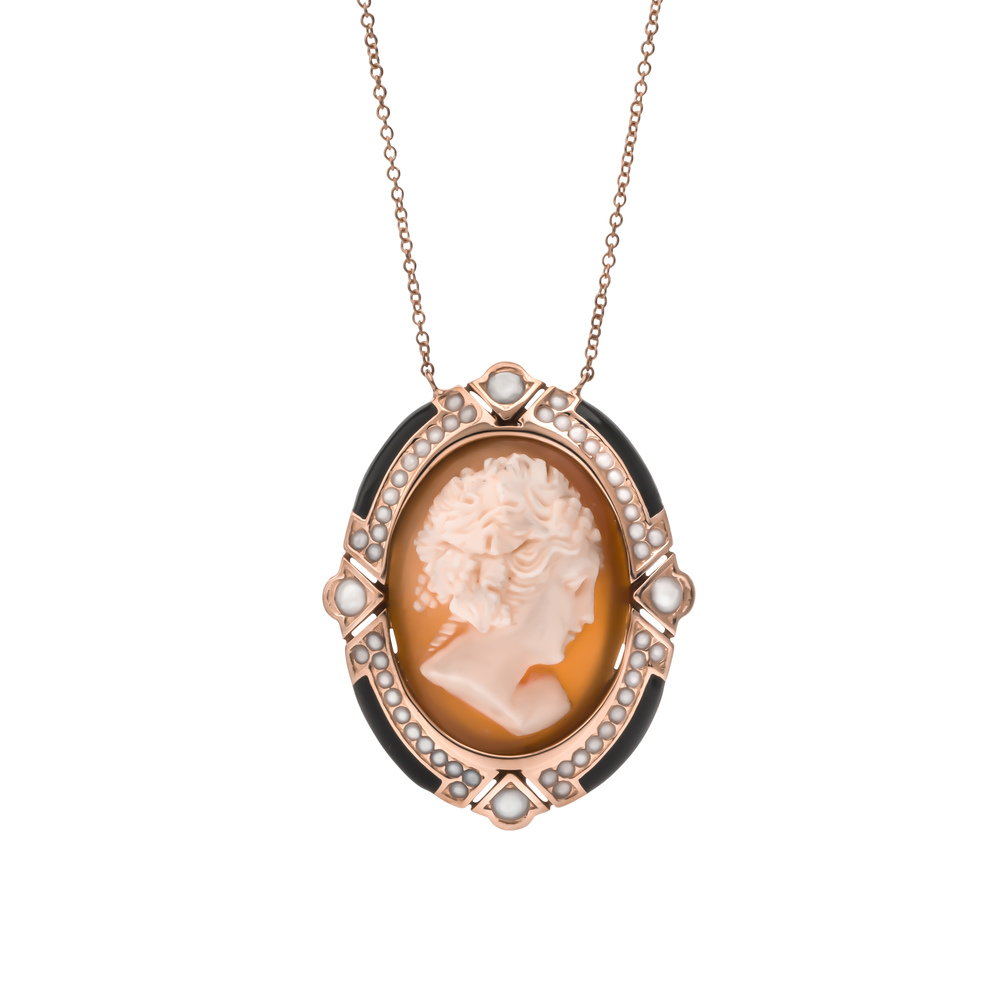 CUSTOM ROSE GOLD PENDANT WITH ENAMEL DETAIL redesigned using our client's cameo brooch.