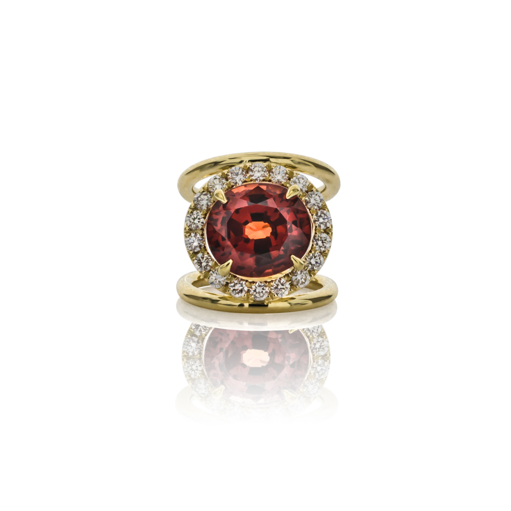 CUSTOM SPESSARTITE GARNET AND DIAMOND FASHION RING