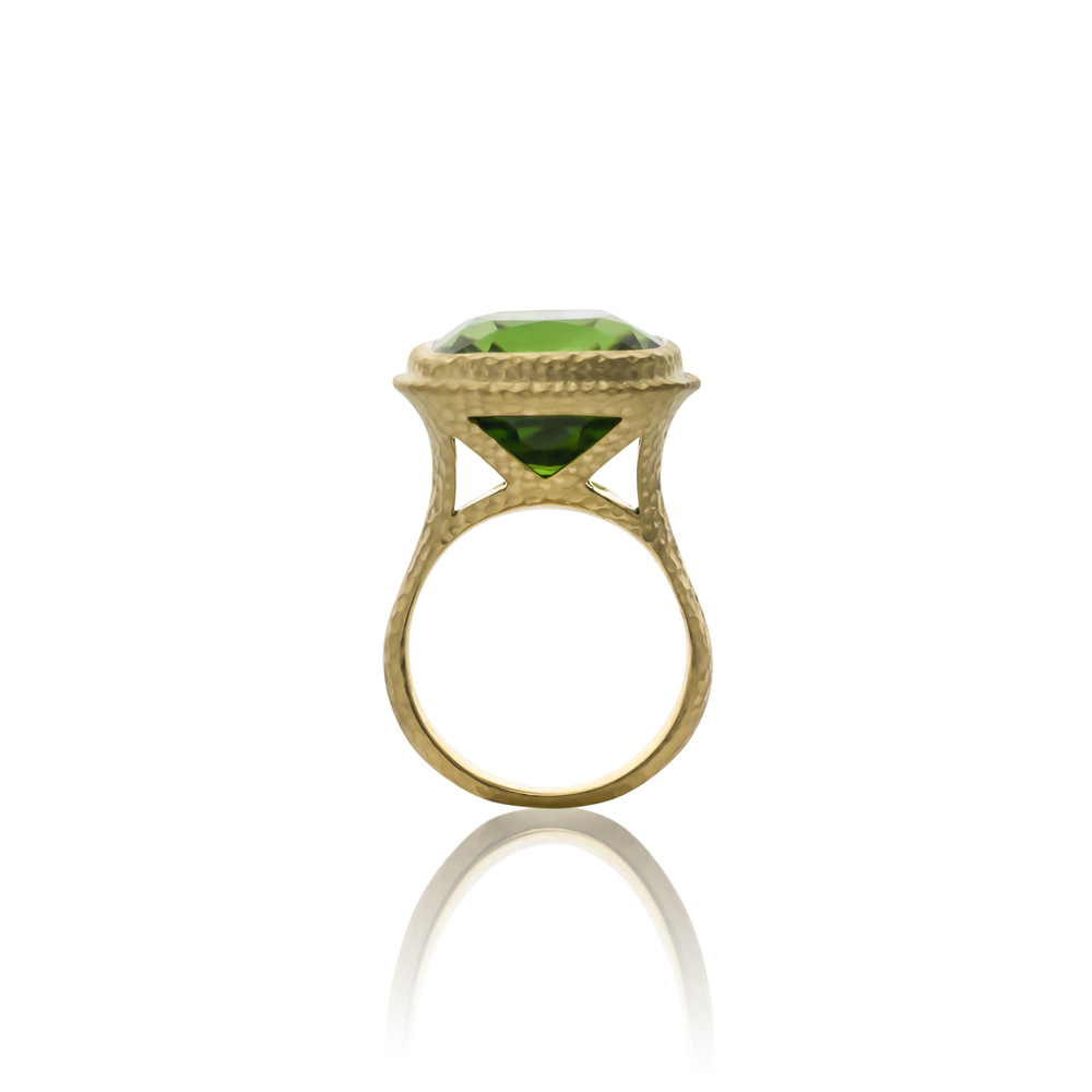 CUSTOM 18K PERIDOT FASHION RING WITH HAMMERED SATIN FINISH