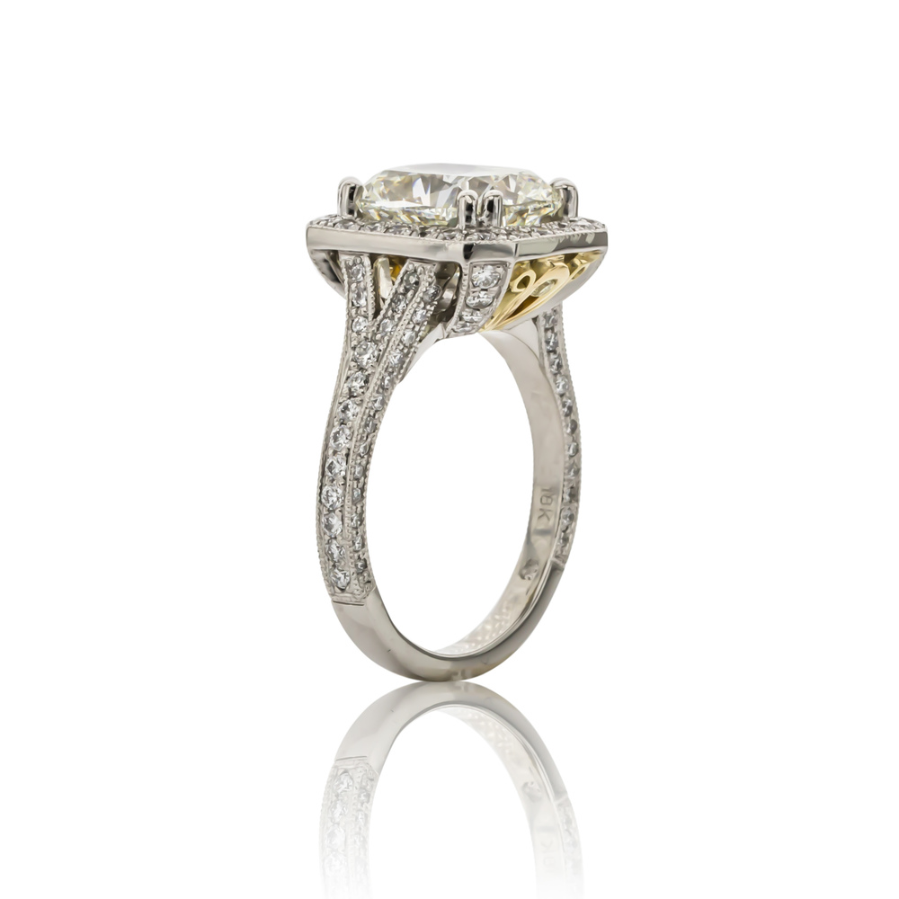 CUSTOM DIAMOND ENGAGEMENT RING WITH PEEK-A-BOO YELLOW DIAMONDS IN GALLERY