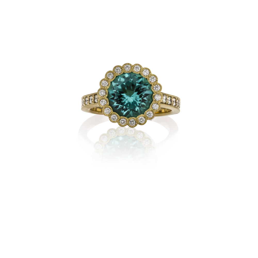 CUSTOM BLUE TOURMALINE AND DIAMOND RING SET IN 18K YELLOW GOLD