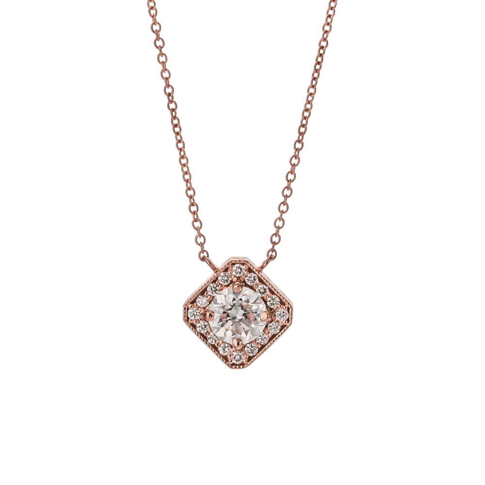 CUSTOM DIAMOND HALO PENDANT NECKLACE SET IN 18K ROSE GOLD