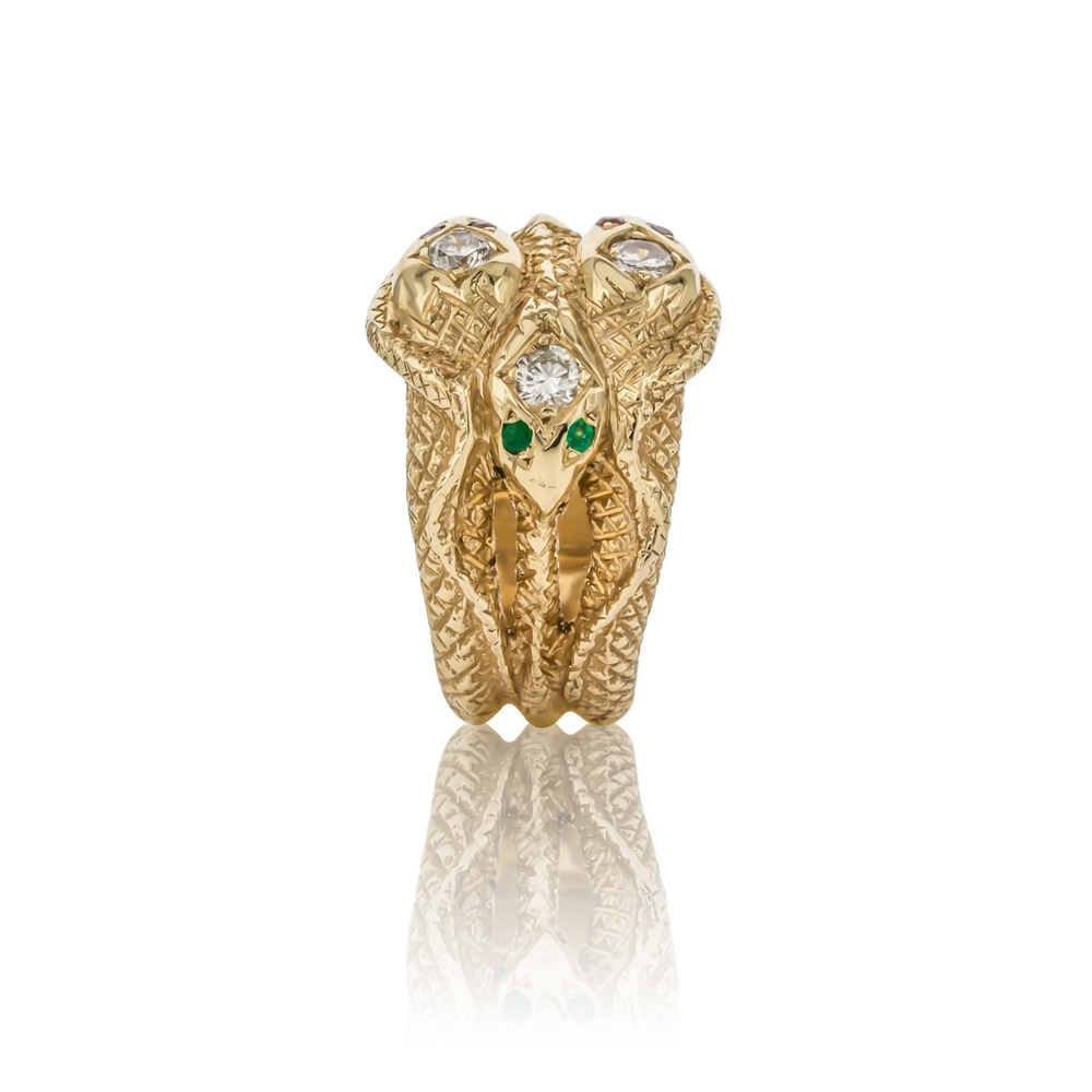 CUSTOM SNAKE RING WITH EMERALDS AND RUBIES