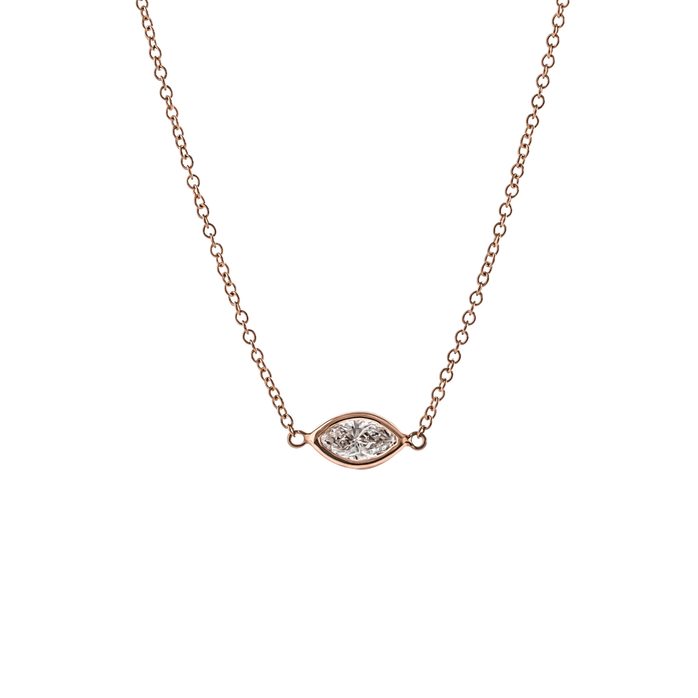 CUSTOM MARQUISE DIAMOND DIAMOND BY THE YARD NECKLACE SET IN 18K ROSE GOLD