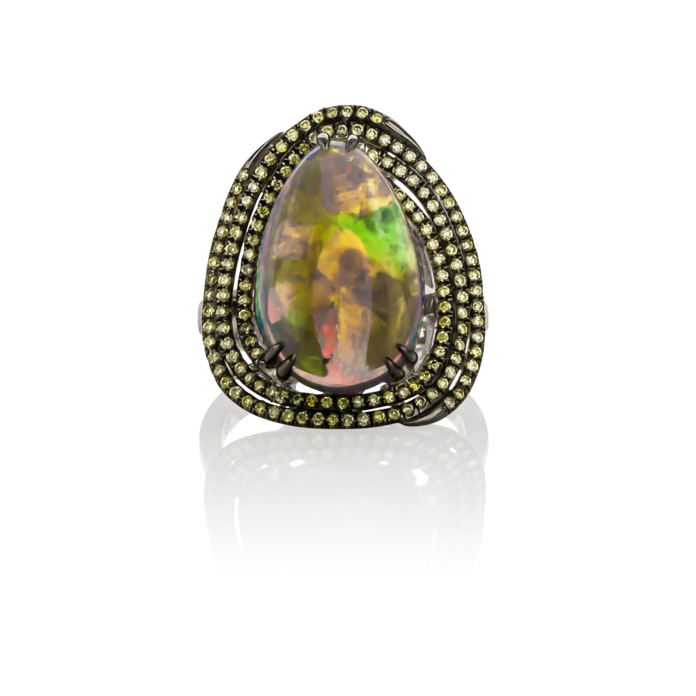 CUSTOM OPAL AND YELLOW DIAMOND RING SET IN 18K WHITE GOLD WITH BLACKENING