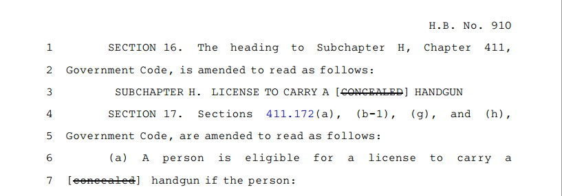 "HB 910, or the ""open carry"" law, removes ""concealed"" from hand gun license eligibility and everywhere it is used in various other code sections."