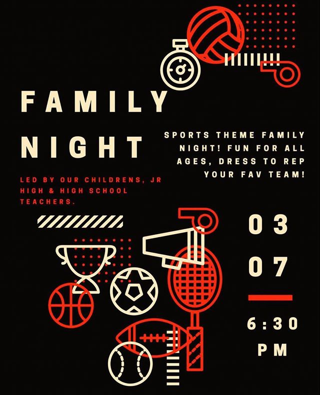 Family Night this Wednesday night at 6:30pm! The Teachers for our WBF Kids and our Youth are taking over for a family fun event for all ages!
