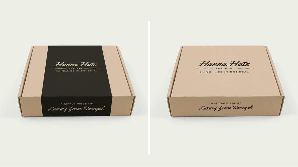 The second option is a more natural option, The eco mailer boxes are made from ecological cardboard and have a really nice black overprint. Lack of additional layers of paper and pigments makes them the most economical solution as well. These designs are more minimalist yet are still very much elegant and would make a great choice as well.