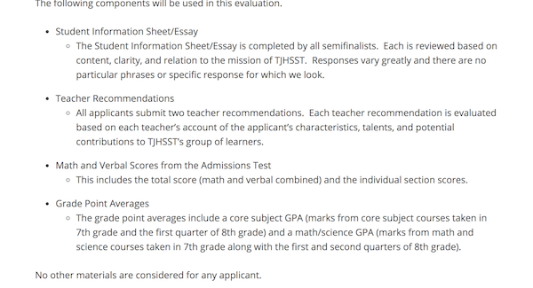 tj admissions test how to get into thomas jefferson high school  the final decision on which students to admit is based on the following components