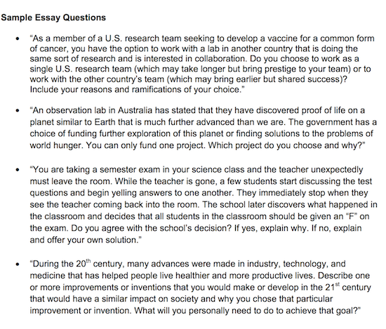 EXAMPLES OF TJ ESSAY QUESTIONS