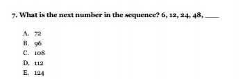 HSPT Practice Test - Number Sequence Question - Sample