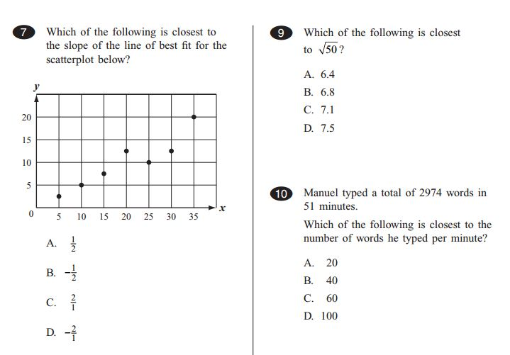 TerraNova Test Prep  - 10 Grade  Math Question - Sample