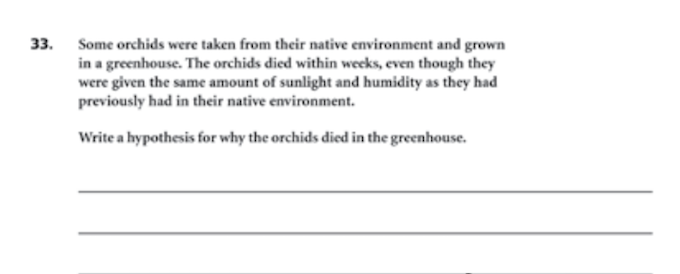 Terranova Grade 9 Science Question