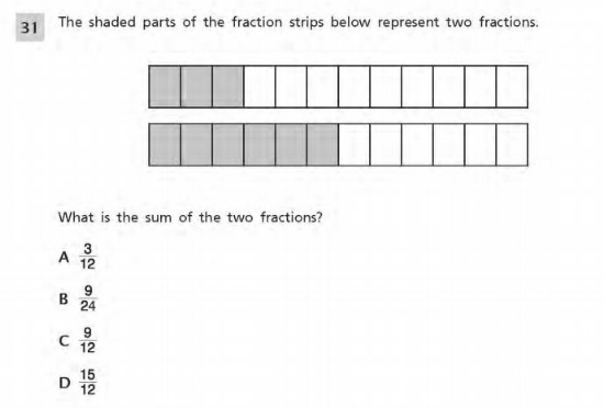 Number and Operations-Fractions sample question 2 (Grade 4)