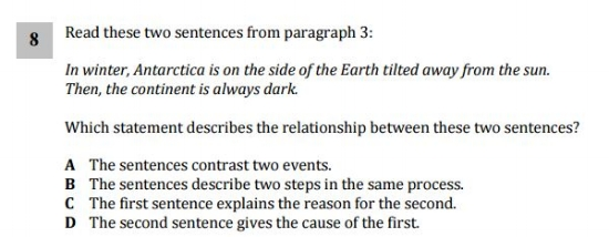ELA 4th Grade sample question- - Structure Question
