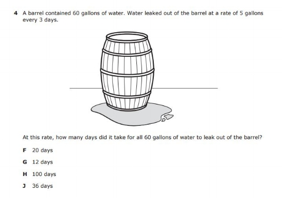 STAAR -  6th grade math sample question