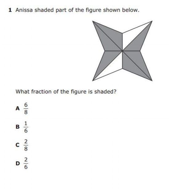 3rd Grade STAAR - Pictorial Model Fraction sample question