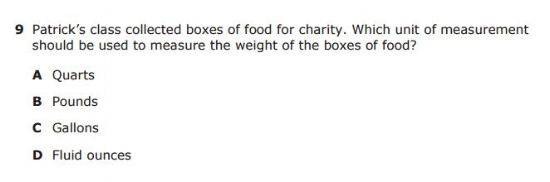 3rd Grade STAAR example question - Weight sample