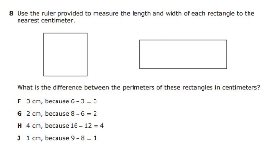 STAAR 4th Grade  EXAMPLE QUESTION  -  Length Measurement sample