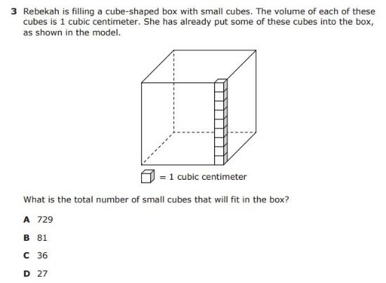 5th Grade STAAR - Volume sample question