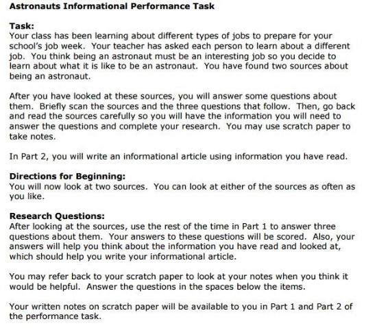 SBAC - 3rd Grade -  Performance Task sample