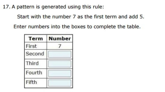 Free SBAC Practice Test 4th Grade -  Patterns sample