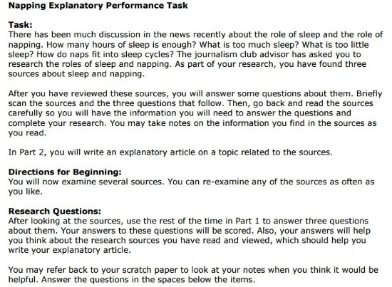 OAKS Practice Test - 7th grade ELA Performance Task sample