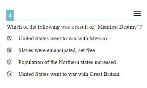 OAKS Practice Test Online - 8th gradeU.S. History sample