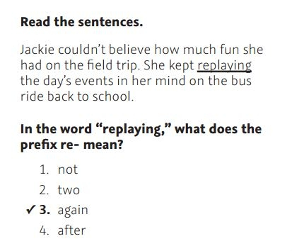 NWEA Practice Test 3rd Grade Test  - Prefixes sample