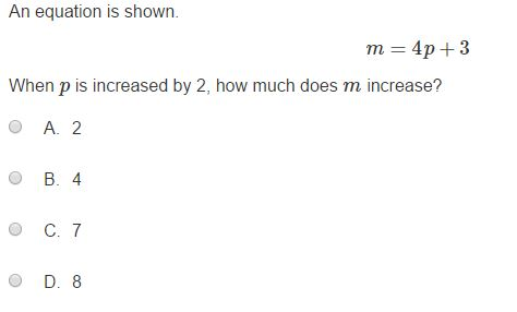 MCA Practice Test - 8th Algebra sample