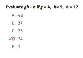 NWEA Practice Tests - Algebra sample