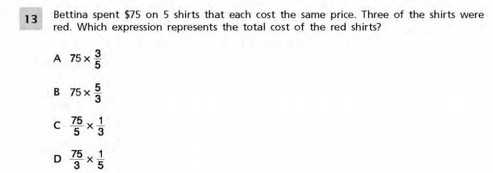 NYS Math Practice Test 5th Grade - Fractions 2 sample