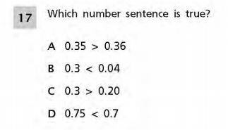 NYS Math Practice Test 5th Grade - Decimals sample